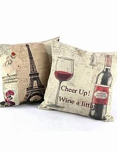 "Createforlife ® 18 ""Set med 2 Paris Eiffeltornet Vintage Wine Örngott Kuddfodral"