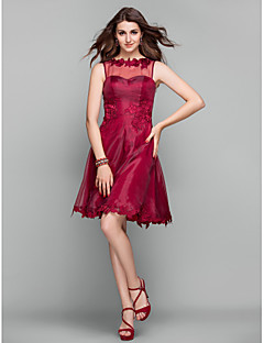 Homecoming Cocktail Party/Holiday/Prom Dress - Burgundy Plus Sizes A-line Jewel Knee-length Organza
