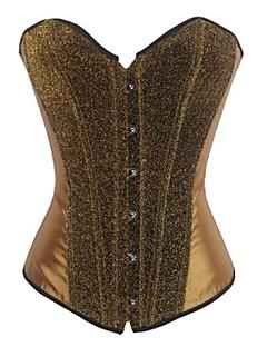 Women Overbust Corset Nightwear Print Polyester Gold Women's