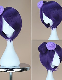 NARUTO Konan Short Straight Purple Wig with Bun Anime Cosplay Wig