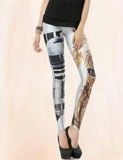 Das PinkQueen Mulheres Spandex Branco metalline Robot impressão Leggings
