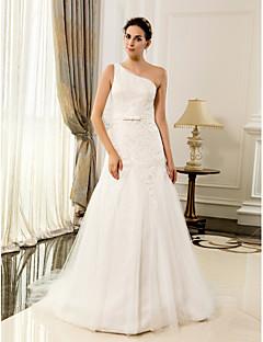 웨딩 드레스 - 아이보리(색상은 모니터에 따라 다를 수 있음) A 라인 바닥 길이 원 숄더 레이스/사틴