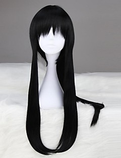 D.Gray-man Yu Kanda Long Straight Black Anime Cosplay Wig with Ponytail