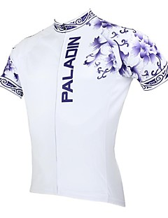 PaladinSport Men's Blue and White Porcelain Spring and Summer Style 100% Polyester Short Sleeved Cycling Jersey