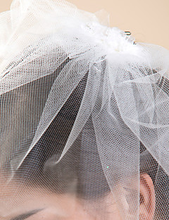 Bruidssluiers Eénlaags Gezichtssluiers Kniprand 10-20cm Tule Wit / Ivoor A-lijn, baljurk, prinses, strak/kolom, trompet/zeemeermin