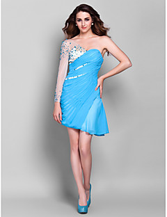 Homecoming Cocktail Party/Prom/Holiday Dress - Pool Plus Sizes Sheath/Column One Shoulder Asymmetrical Chiffon