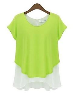 Vrouwen Eenvoudig Lente / Herfst T-shirt,Casual/Dagelijks Patchwork Ronde hals Korte mouw Blauw / Grijs / Groen Katoen Dun