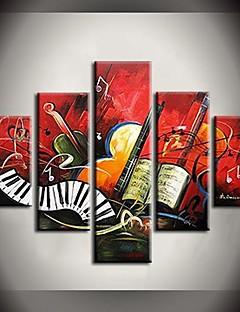 Pintura al óleo pintada a mano de la música elegante Notas Pinturas abstractas con extendía Frame Set de 5