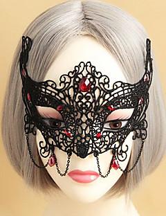 Maskerade Königin Black Lace Halloween-Maske mit roter Edelstein