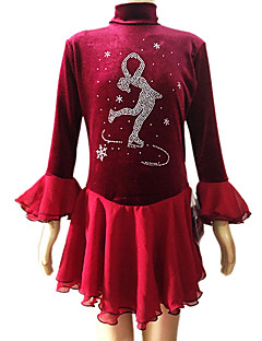 Flicka Red Velvet Långärmad konståkning klänning (Assorted storlek)