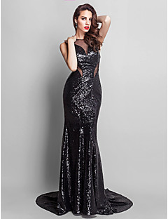 Formal Evening Dress - Black Plus Sizes Trumpet/Mermaid Jewel Court Train Sequined