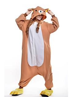 Kigurumi Pyjamas New Cosplay® Bjørn Trikot/Heldragtskostumer Festival/Højtider Nattøj Med Dyr Halloween Oransje Patchwork Polarfleece