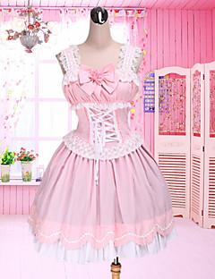 Søt knelang, ermeløs Lolitakjole i rosa bomull