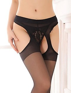 Women's Sexy Black Nylon Open-crotch Pantyhose