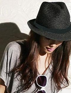 Unisex Straw Fedora Hat , Vintage/Casual Summer