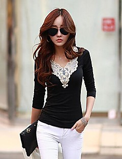 Women's  Slim  Long  Sleeve  Lace  T-Shirt