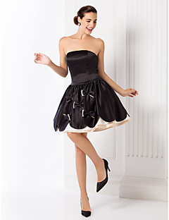 regreso al hogar del cóctel del partido / fiesta / vestido de fiesta - más negro el tamaño de palabra de honor vestido de fiesta corto / mini satinado