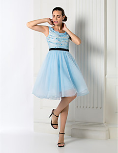 Homecoming Cocktail Party/Homecoming/Holiday/Prom Dress - Sky Blue Plus Sizes Ball Gown Jewel Knee-length Chiffon/Tulle