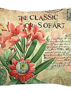 röda blommor bomull / linne dekorativa örngott