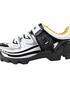 SANTIC Men's Athletic Lightweight MTB Mountian Bike Cycling Locking Shoes - White + Black