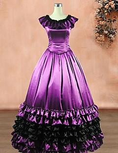 senza maniche pavimento-lunghezza abito lolita classico di seta viola