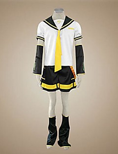 Inspired by Vocaloid Kagamine Len Video Game Cosplay Costumes Cosplay Suits Color Block White / Black / YellowTop / Shorts / Tie / Sleeve