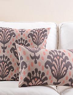 ensemble de 2 fleur abstraite coton / lin taie d'oreiller décoratif