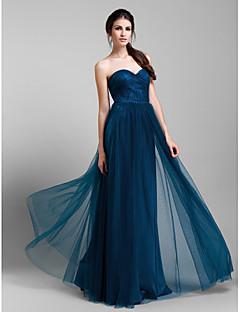 Lanting Bride® עד הריצפה טול שמלה הניתנת להמרה שמלה לשושבינה - גזרת A פלאס סייז (מידה גדולה) / פטיט עם קפלים / בד נשפך בצד