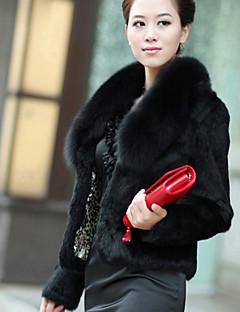 Женский Вечеринка/коктейль Однотонный Пальто с мехом Зима Длинный рукав,Искусственный мех