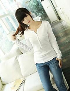 Mulheres Camiseta Casual Simples / Moda de Rua Primavera / Outono,Sólido Branco / Preto / Cinza Decote V Manga Longa Média