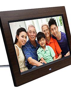 Cadre photo numérique 10,1 pouces HD en bois avec une carte mémoire de 8 g et une batterie li-