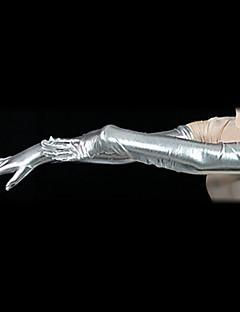 Future Soldier Silber metallisch glänzenden schulterlang Handschuhe (2 Stück)