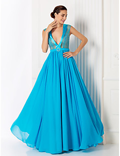 Formal Evening / Prom / Military Ball Dress - Pool Plus Sizes / Petite A-line V-neck Floor-length Chiffon