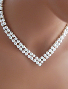 Dames Strengkettingen Parelketting Hartvorm V-vormige Parel Imitatieparel Bruids Europees Elegant Wit Sieraden VoorBruiloft Feest