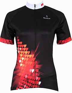 PaladinSport Women's Heart  Spring and Summer Style 100% Polyester Black Short Sleeved Cycling Jersey