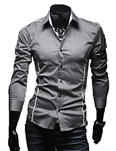 LangTuo Schlank Edge-Piping Kausal Langarm-Shirt (Grau)