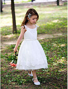 Princess Scoop Tea-length Satin Flower Girl Dress With Lace
