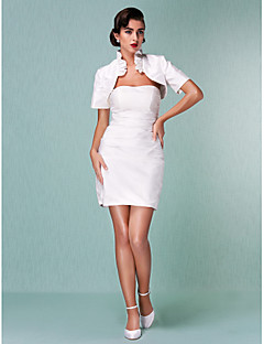 Sheath/Column Plus Sizes Wedding Dress - Ivory Short/Mini Strapless Satin