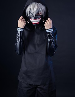 Cosplay Costume Inspired By Tokyo Ghoul Ken Kaneki Black Solid PU Leather / Uniform Cloth Cosplay Suits