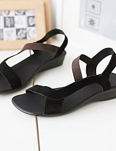 Scarpe Donna - Sandali - Formale / Casual - Cinturino / Comoda / Alla schiava - Basso - Di pelle - Nero / Rosso