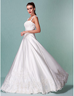 LAN TING BRIDE A-line Wedding Dress - Classic & Timeless Vintage Inspired Floor-length Square Satin with Appliques Sequin