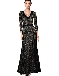 dámské krajkové černé šaty, party / sexy / maxi hluboko v dlouhý rukáv