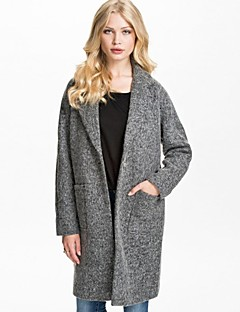 Women's Plus Size Coat,Solid Long Sleeve Spring / Fall / Winter Gray Polyester Opaque / Medium
