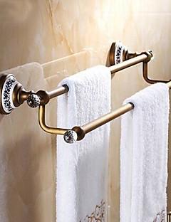 "Towel Bar Antique Brass Wall Mounted 625 x 90x125mm (24.6 x 3.54 x 4.92"") Brass / Ceramic / Crystal Antique"