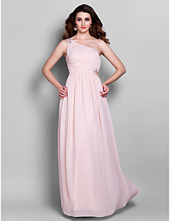 Formal Evening/Prom/Military Ball Dress - Pearl Pink Plus Sizes Sheath/Column One Shoulder Floor-length Georgette