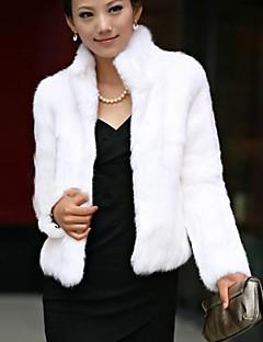 collar de la manera del color puro de imitación de piel cálido abrigo de las mujeres