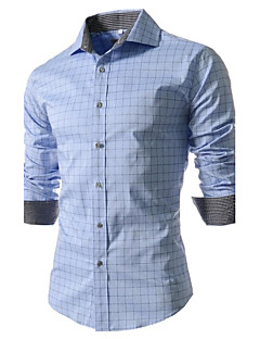Men's Work/Formal Check Print Long Sleeve Shirt