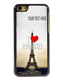 caixa personalizada eu amo paris caso Torre Eiffel design de metal para iphone 5c