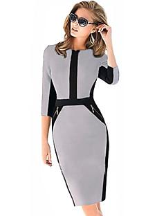 Monta kvinders halv ærme v-hals slank kjoler