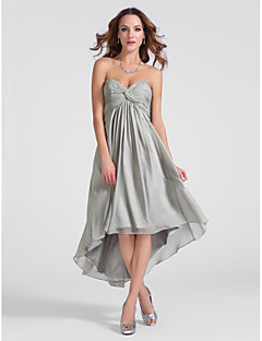 thuiskomst cocktail party dress - zilver grote maten a-lijn / prinses sweetheart / strapless asymmetrische / knielange chiffon